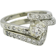 Diamond Bridal Ring Set 14K White Gold 6.5 grams