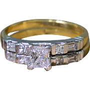 14K Yellow and White Gold Diamond Bridal Ring Set 5.8 grams