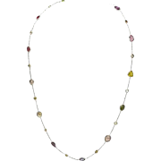 18K White Gold, Sapphires, and Diamonds 22.25 Inch Necklace 7 grams
