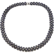 Sterling Silver & Sapphire 18.75 inch Necklace weighing 66 grams