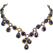 Sterling Silver and Sapphires 17.25 inch Necklace 69.5 grams