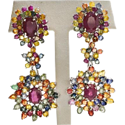 Sterling Silver, Rubies, and Sapphires Pierced Post Dangle Earrings with Omega Backs 30 grams