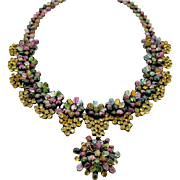 Sterling Silver, Tourmalines, and Citrines 15 inch Necklace 99 grams