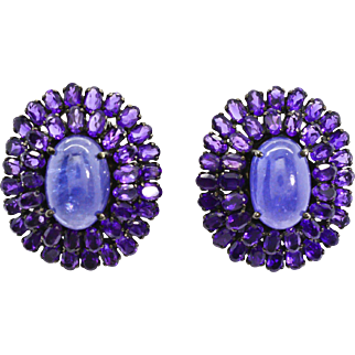 Sterling Silver, Tanzanite, Amethyst pierced post earrings with Omega backs 28 grams