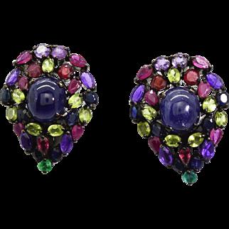 Sterling Silver, Tanzanites, Multiple Gemstones Earrings 19.7 grams