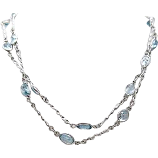 Sterling Silver & Blue Zircons 34 inch Necklace 15.5 grams 25 carats total weight