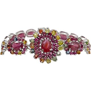 Sterling Silver, Rubies, Sapphires 7.75 inch Bracelet 29.4 grams