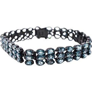 Sterling Silver and Blue Zircons 7.5 inch Bracelet 26.4 grams 18.9 cttw