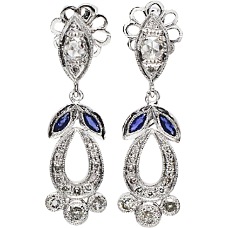 SALE Estate Platinum 1.60ctw F-VS1 Euro Cut Diamond & Sapphire Dangle Earrings 9.4g
