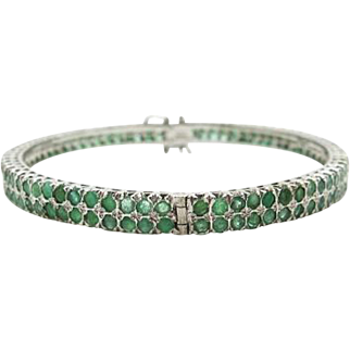 Sterling Silver & Emeralds 7 inch hinged bangle 15.4 cttw, 23.9 grams