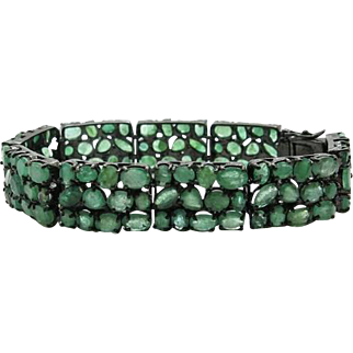 Sterling Silver & Emerald 7.5 inch Bracelet 18.54cttw