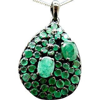 Sterling Silver and Emerald Pendant 10 grams