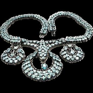 Sterling Silver & Blue Zircon 17 inch Necklace 133.4 grams