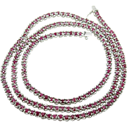 Sterling Silver & Ruby 22 inch necklace weighing 23 grams