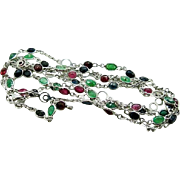 "Sterling Silver, Emeralds, Sapphires, Rubies 36"" Necklace 16.4 grams"