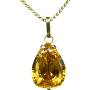 14K Yellow Gold & Citrine Pendant 5.0 grams, 17.3 carats