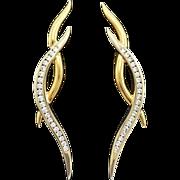 18K Yellow & White Gold Diamond Earrings 8.9 grams, 0.60cttw Disc Backs