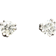 14K White Gold & Diamond Pierced Post earrings 1.00 carats total weight