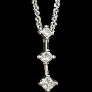 14K White Gold & Three Diamond Slide 0.50cttw 1.1 grams  H-I/SI2-I1