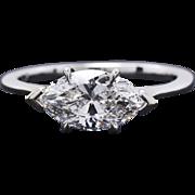 18K White Gold & Diamond Engagement Ring 2.2 grams GIA 0.90 ct/E/SI1