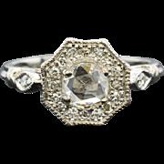 Platinum .90ctw F-SI1 Old Rose Cut Diamond Engagement Ring