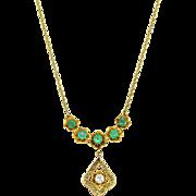 "14K Yellow Gold, Emeralds, & Diamond 19"" Necklace"