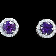 14K White Gold, Amethyst, & Diamond Earrings 2.5 grams, 1.70cttw