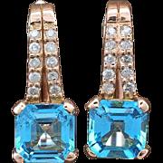 14K Rose Gold, Topaz & Diamonds Earrings 3.5 grams, 1.25cttw