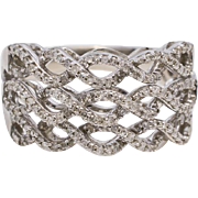 Designer Diamonds & Sterling Silver Braided Ring 5.1 grams, 0.45 cttw
