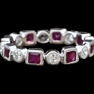 Platinum, Ruby & Diamond Eternity Ring 4.2 grams, 1.84 cttw