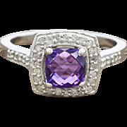 14K White Gold, Amethyst, & Diamond Ring 3.5 grams 1.45 cttw