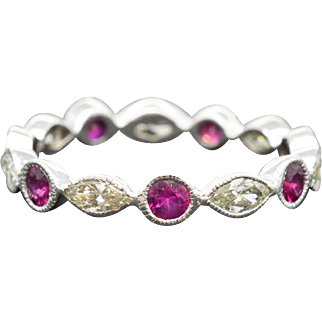 14K White Gold, Ruby & Diamond Eternity Ring 2.4 grams size 8, 1.75cttw