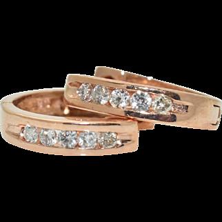 14K Rose Gold & 0.25cttw Diamond Huggie Style Hoop Earrings 2.3 grams
