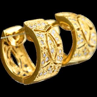 14K Yellow Gold & 0.30 cttw Diamond Huggie Earrings 2.9 grams