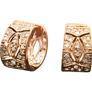 14K Rose Gold & Diamonds Huggie Earrings 2.9 grams, 0.30 cttw