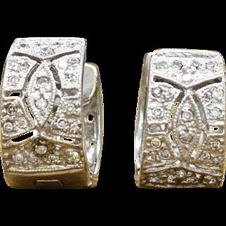 14K White Gold & 0.30 cttw Diamonds Huggie Earrings 2.9 grams