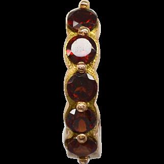 14 Karat Rose Gold and Garnet Huggie Earrings, 2.6 grams, 1.00 cttw