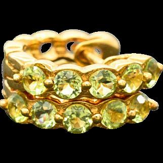 14K Yellow Gold & Peridots Huggie Earrings 2.6 grams