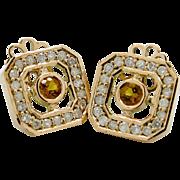 14K Rose Gold, Citrine, and Diamond Earrings 3.7 grams, 0.80cttw