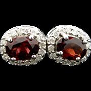 14K White Gold, Garnet, & Diamond pierced earrings 2.6 grams, 2.12cttw