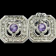 14K White Gold, Amethyst, & Diamonds pierced post earrings 3.7 grams, 0.80cttw