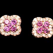 14K Rose Gold, Rhodolite Garnet & Diamond pierced post Earrings 3.0 grams