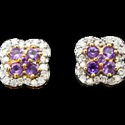 14K Yellow Gold, Amethyst & Diamond pierced post Earrings 3.0 grams