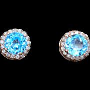 14K Rose Gold, Topaz, & Diamond Earrings 2.5 grams