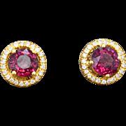 14K Yellow Gold, Garnet, & Diamond Pierced Post Earrings 3.2 grams