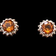 14K Rose Gold, Citrine, & Diamonds pierced post earrings 2.2 grams