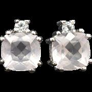 14K White Gold, Rose Quartz, & Topaz pierced post earrings 3.5 grams