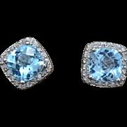 14K White Gold, Topaz, & Diamond pierced post earrings 3.4 grams