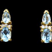 14K Yellow Gold, Blue Topaz, & Diamond pierced post Earrings 2.5 grams