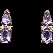 14K Rose Gold, Amethyst, & Diamonds pierced post Earrings 2.2grams